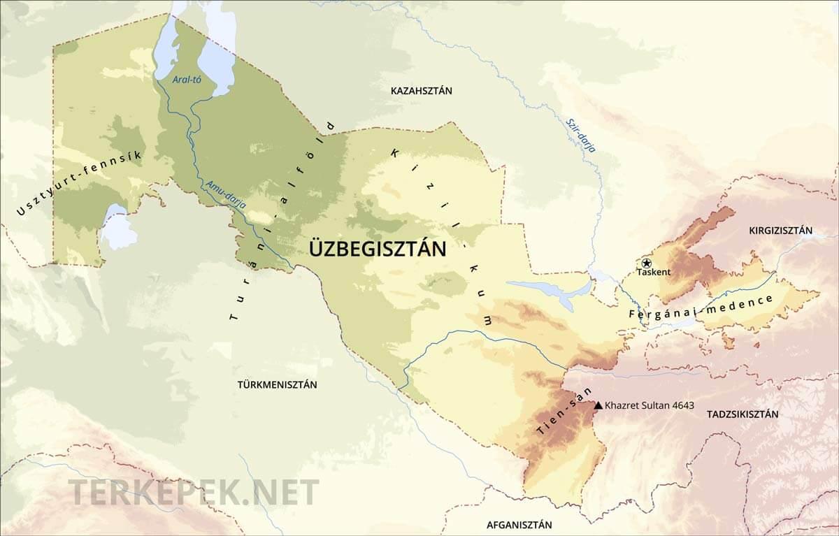 üzbegisztán térkép Üzbegisztán domborzati térképe
